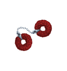 Furry red handcuffs fetish stuff for role playing vector