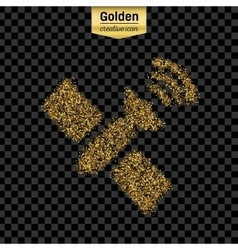 Gold glitter icon of satellite isolated on vector image vector image