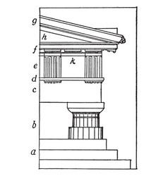 Greek doric order post vintage engraving vector