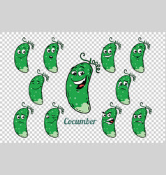 Green cucumber emotions characters collection set vector