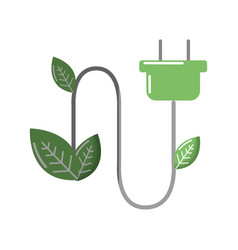 green power energy with leaves icon vector image