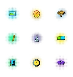Internet icons set pop-art style vector