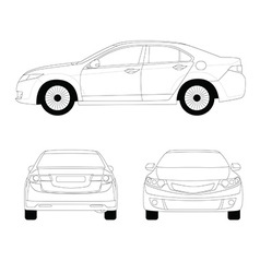 Large sport sedan line art vector image vector image