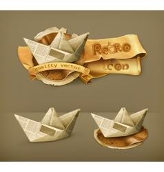 Paper boat icon vector