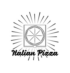 pizza house badge box label with beams vector image