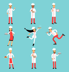 Professional kitchen staff characters at work vector