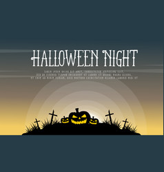 Pumpkin on grave background halloween vector
