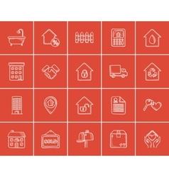 Real estate sketch icon set vector image