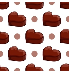 Seamless pattern with chocolate heart vector image