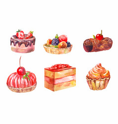 Set of cakes watercolor drawing art vector