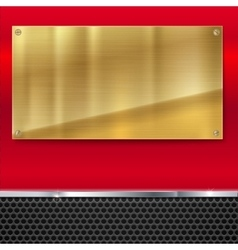 Shiny brushed metal gold yellow plate with screws vector image vector image