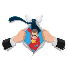 Superhero man white shirt background vector