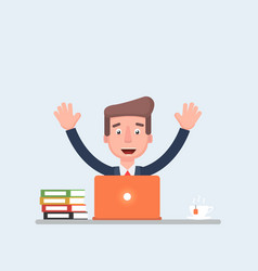 the employee is happy sitting at the laptop and vector image vector image