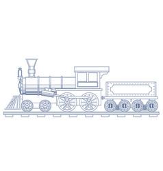 vintage steam train engrave vector image