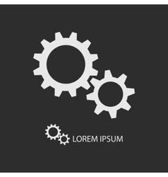 White gear wheels as logo on dark grey vector