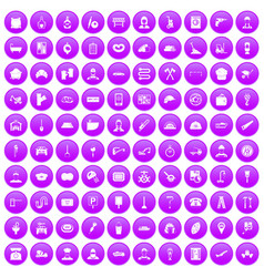 100 working professions icons set purple vector