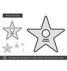 Movie star line icon vector