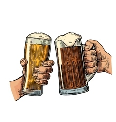 Two hands holding and clinking with two beer vector