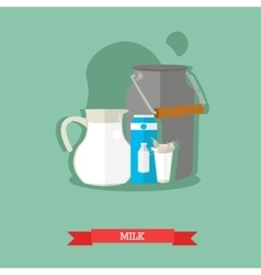 Milk jug can and carton glass with splash vector