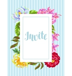 Invitation card with china flowers bright buds of vector