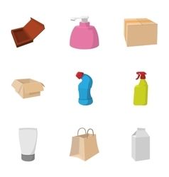 Packing icons set cartoon style vector