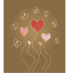 hearts and butterflies vector image