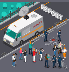 reportage from murder scene isometric vector image
