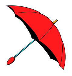 red umbrella icon cartoon vector image