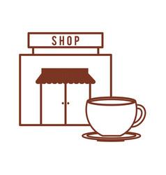 Coffee shop cup beverage outline vector
