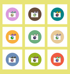 Flat icons set of business pie chart in folder and vector