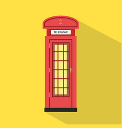 Flat red pay phone with yellow background vector