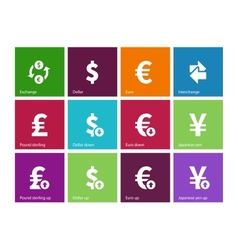 Exchange rate icons on color background vector