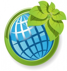 Globe with flower vector