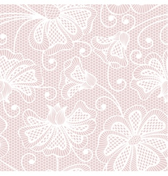 White seamless flower pattern on pink background vector