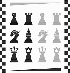 Monochrome chessmen silhouette vector