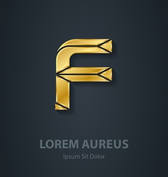 Letter f elegant gold font template for company vector