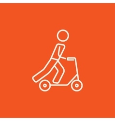 Man riding kick scooter line icon vector