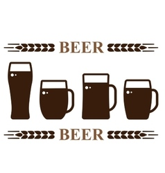 Beer mug set vector