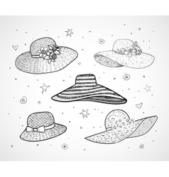 Set of five summer hats vector