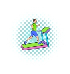 Man running on a treadmil icon comics style vector image