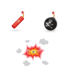 Bombs and explosion icons vector