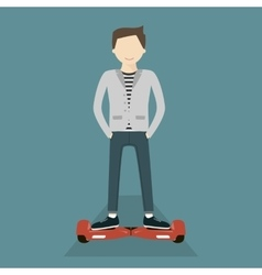 Man on hoverboard vector