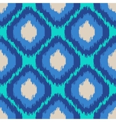 Ikat geometric seamless pattern turquoise blue vector