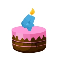 Birthday cake with candle number four icon vector image
