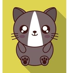 Kawaii cat icon cute animal graphic vector