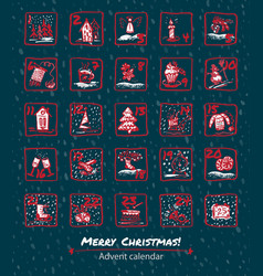 advent calendar 25 days of christmas set icons vector image