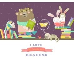 Animals reading books on bookshelves vector