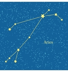Aries zodiac symbol on background of cosmic sky vector