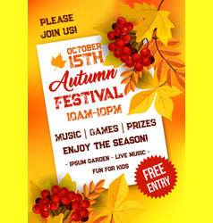 Autumn festival poster template with yellow leaves vector
