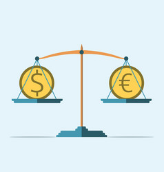 Balance dollar and euro vector